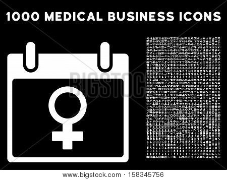 White Venus Female Symbol Calendar Day vector icon with 1000 medical business pictograms. Set style is flat symbols, white color, black background.