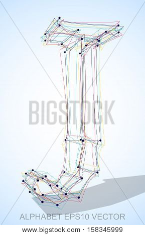 Abstract illustration of a Multicolor sketched uppercase letter J with Transparent Shadow. Hand drawn 3D J for your design. EPS 10 vector illustration.