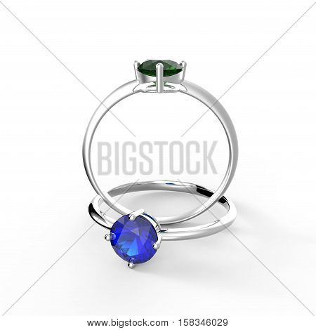 Rings with gem. Isolated on white background.  Fashion jewelry. 3d digitally rendered illustration