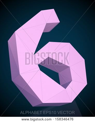 Abstract Pink 3D polygonal number 6 with reflection. Low poly alphabet collection. EPS 10 vector illustration.