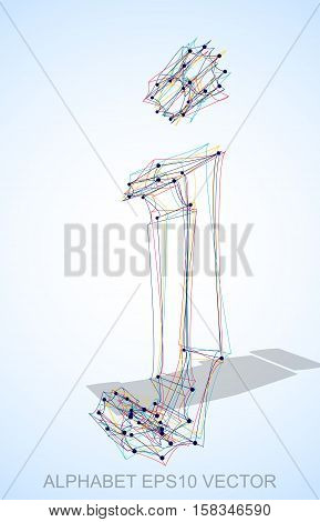 Abstract illustration of a Multicolor sketched lowercase letter J with Transparent Shadow. Hand drawn 3D J for your design. EPS 10 vector illustration.