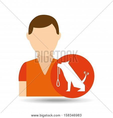 character pet training dog carrying strap vector illustration eps 10