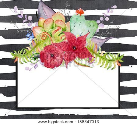 Succulent bouquet. Сactus in the shape of a heart flowers and fern leaves on black and white watercolor striped background. Boho style for your design. Wedding invitation Valentines Day cards ect
