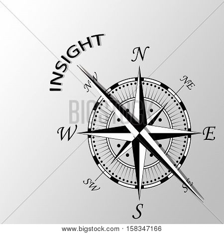 Illustration of word insight written aside compass