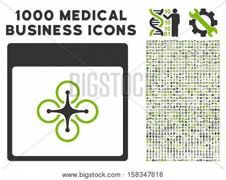 Eco Green And Gray Air Copter Calendar Page vector icon with 1000 medical business pictograms. Set style is flat bicolor symbols, eco green and gray colors, white background.