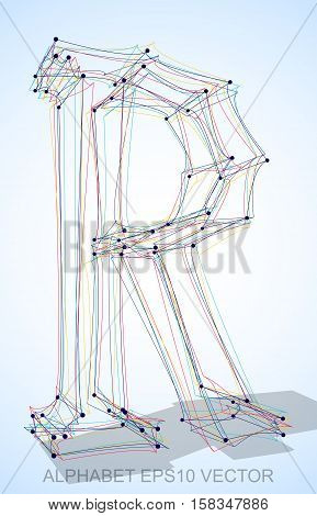 Abstract illustration of a Multicolor sketched uppercase letter R with Transparent Shadow. Hand drawn 3D R for your design. EPS 10 vector illustration.