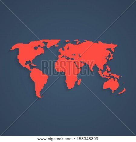 red pixel art world map. concept of 8bit videogame, graphic wallpaper, school education, locations, infographics element. pixelart style trendy modern design eps10 vector illustration