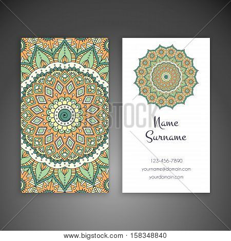 Business card. Vintage decorative elements. Hand drawn background