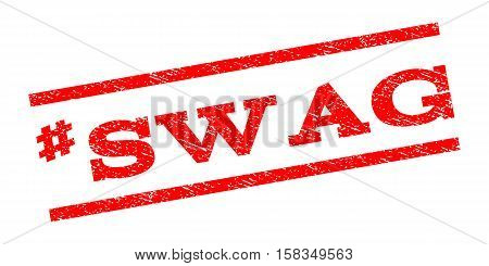 Hashtag Swag watermark stamp. Text tag between parallel lines with grunge design style. Rubber seal stamp with unclean texture. Vector red color ink imprint on a white background.