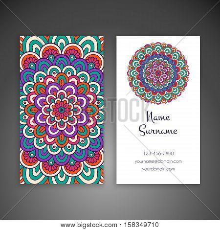 Business card. Vintage decorative elements. Hand drawn background