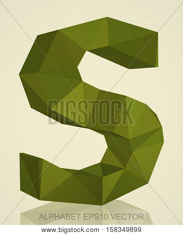 Abstract Khaki 3D polygonal uppercase letter S with reflection. Low poly alphabet collection. EPS 10 vector illustration.
