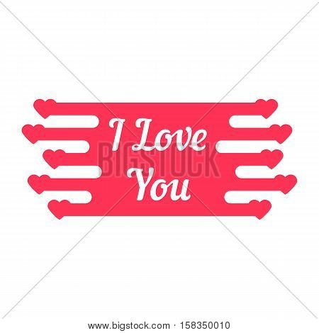 pink i love you melted sign. concept of declaration of love. isolated on white background. flat style trendy modern logotype design vector illustration