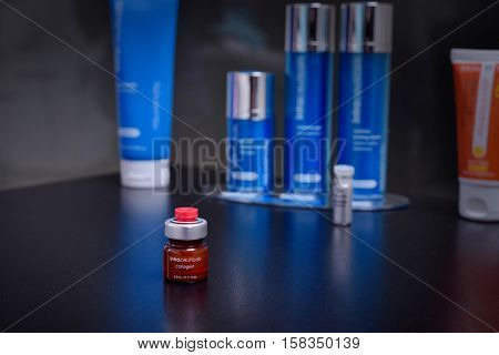 GALATI ROMANIA - NOVEMBER 08 2016: Intraceuticals colagen 35ml dose of skin treatment cream presented in a beauty salon