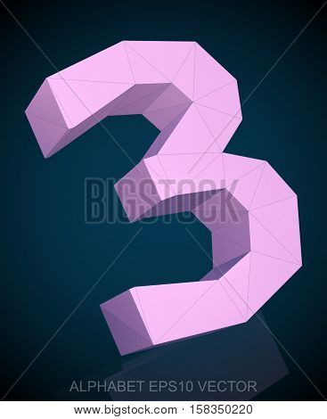 Abstract Pink 3D polygonal number 3 with reflection. Low poly alphabet collection. EPS 10 vector illustration.