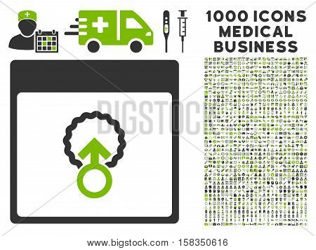 Eco Green And Gray Cell Penetration Calendar Page vector icon with 1000 medical business pictograms. Set style is flat bicolor symbols, eco green and gray colors, white background.