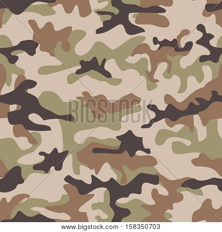Camouflage seamless pattern. Shapes of foliage and branches. Hunter style. Seamless vector square camouflage series in the green scheme