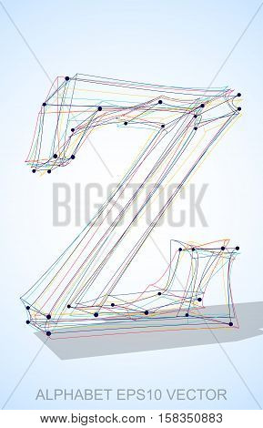 Abstract illustration of a Multicolor sketched lowercase letter Z with Transparent Shadow. Hand drawn 3D Z for your design. EPS 10 vector illustration.