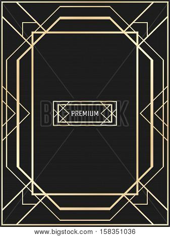 Vector geometric frame in Art Deco style. Rectangle vector abstract element for design. Art Deco border. Light golden vector frame. Premium vector frame in luxury style.