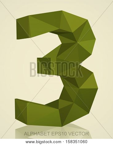 Abstract Khaki 3D polygonal number 3 with reflection. Low poly alphabet collection. EPS 10 vector illustration.