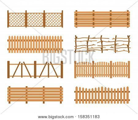 Set Wooden Fences isolated on white background. Different garden fences vector illustration. Rural fencing wood boards silhouette construction in flat style