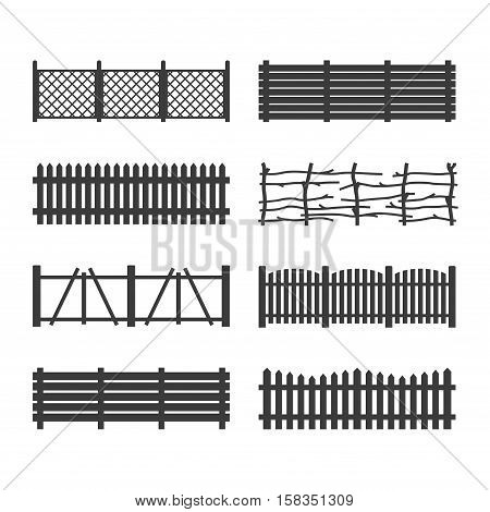 Set Wooden Fences isolated on white background. Different garden fences icons vector illustration. Rural fencing wood boards silhouette construction in flat style