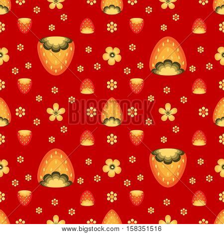 Strawberry fields in Khokhloma traditional style. Vector seamless pattern for wrapping paper or fabric. Red backdrop