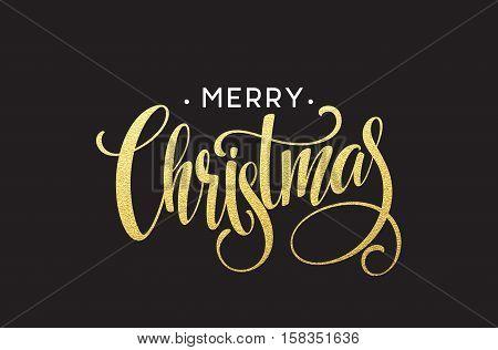 Gold glitter Christmas lettering design. Merry Christmas greeting card with golden glittering. Vector illustration EPS10