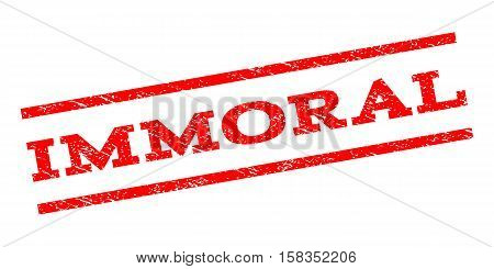 Immoral watermark stamp. Text caption between parallel lines with grunge design style. Rubber seal stamp with dust texture. Vector red color ink imprint on a white background.