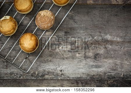 Traditional Christmas shortbread on wooden table background