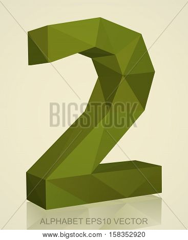 Abstract Khaki 3D polygonal number 2 with reflection. Low poly alphabet collection. EPS 10 vector illustration.