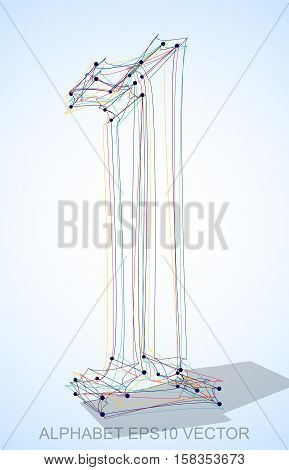 Abstract illustration of a Multicolor sketched number 1 with Transparent Shadow. Hand drawn 3D number 1 for your design. EPS 10 vector illustration.