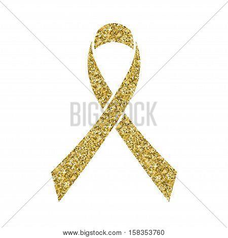 Gold glitter awareness ribbon. Simbol of Childhood Cancer Day in February 15 isolated on white. Vector illustration