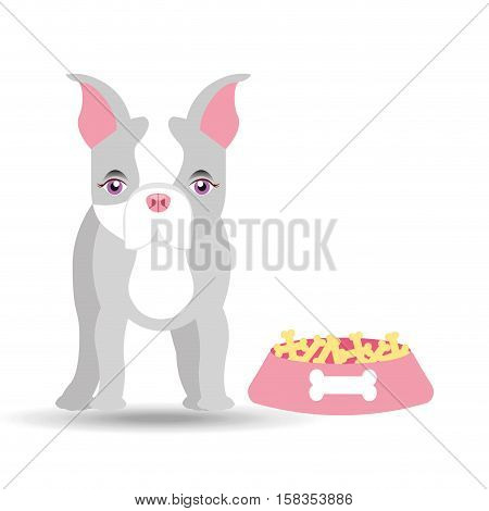 cute doggy girl with food bowl vector illustration eps 10
