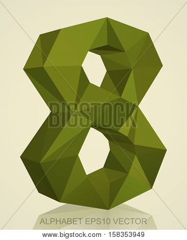Abstract Khaki 3D polygonal 8 with reflection. Low poly alphabet collection. EPS 10 vector illustration.
