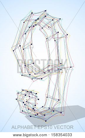 Abstract illustration of a Multicolor sketched number 9 with Transparent Shadow. Hand drawn 3D number 9 for your design. EPS 10 vector illustration.