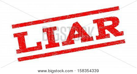 Liar watermark stamp. Text caption between parallel lines with grunge design style. Rubber seal stamp with scratched texture. Vector red color ink imprint on a white background.