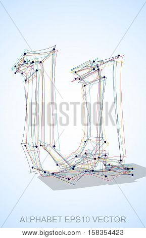 Abstract illustration of a Multicolor sketched lowercase letter U with Transparent Shadow. Hand drawn 3D U for your design. EPS 10 vector illustration.