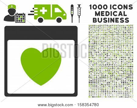 Eco Green And Gray Favourite Heart Calendar Page vector icon with 1000 medical business pictograms. Set style is flat bicolor symbols, eco green and gray colors, white background.