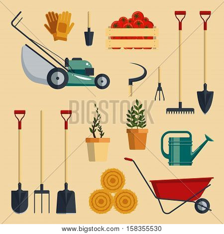 Set farm tools flat-vector illustration. Garden instruments icon collection isolated on white background. Farming equipment