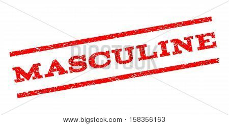 Masculine watermark stamp. Text caption between parallel lines with grunge design style. Rubber seal stamp with scratched texture. Vector red color ink imprint on a white background.