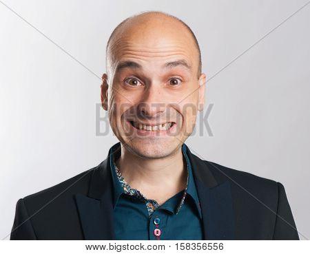 Funny Bald Dude Expressive Portrait