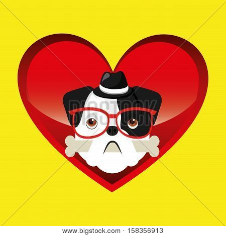 hipster face bulldog with bone and glasses hat vector illustration eps 10