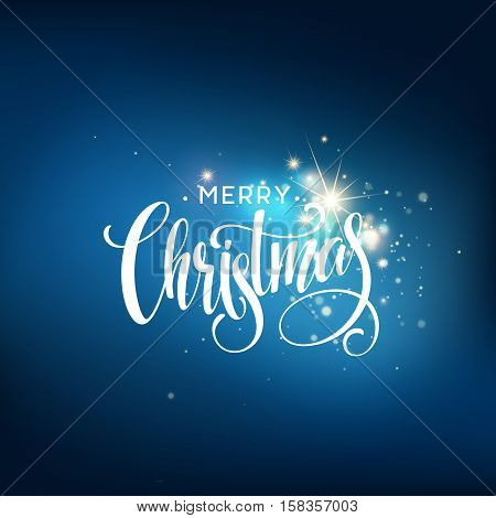 Christmas lettering on Snowflake sparkle background. Vector illustration EPS10