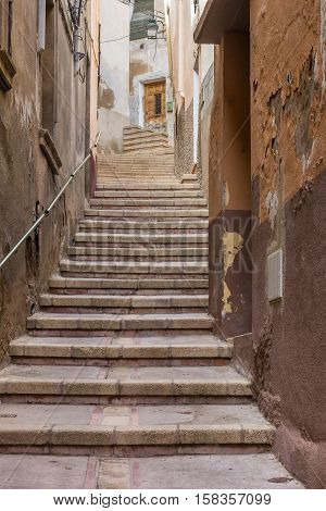 Narrow Backstreet With Steep Stairs In Tarazona