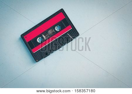 Cassette tapes over wooden table, top view, vintage, love