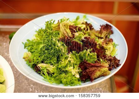 Green delicious salad on a plate in restaurant