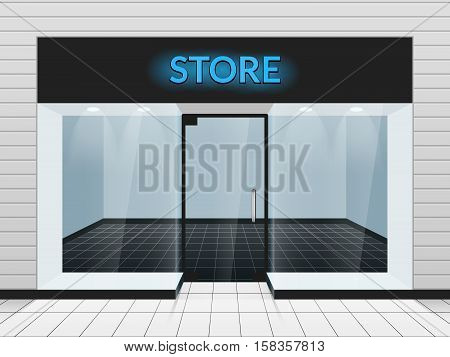 Shop front or store front view vector illustration. Template of design fashion store facade