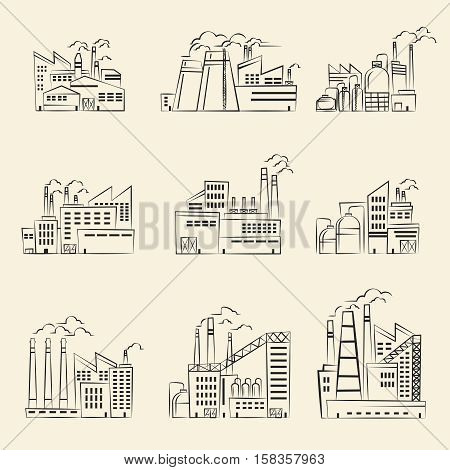 Vector hand drawn industrial factory building. Set of factory manufacture and power factory building illustration