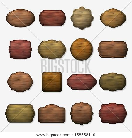 Wooden signs. Vector wood isolated brown boards. Wooden plank for signboard, set of empty wooden banner illustration