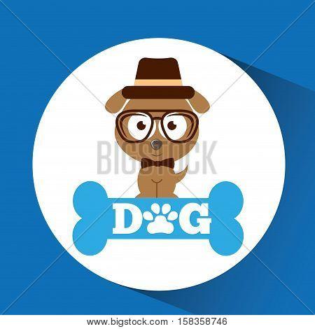 lovely hipster puppy dog vector illustration eps 10